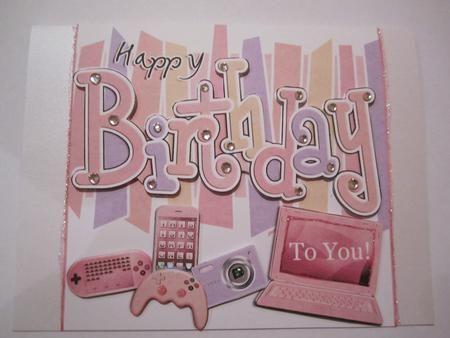 Birthday Girly Gadgets Games N Gizmos Quick Card N 3d Decoup
