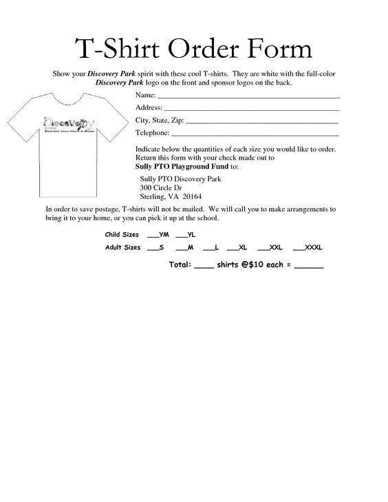 Blank Order Forms Shirt And Hoodie Pictures to Pin – Shirt Order Form