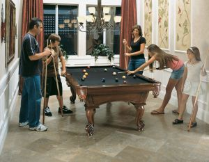 Family Enjoying Their Olhausen Santa Ana Pool Table In The Dining Room Galaxy Homes Entertainment Room Pool Table