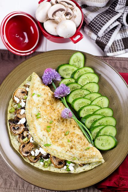 Mushroom, Green Onion and Goat Cheese Egg White Omelet Egg White ...