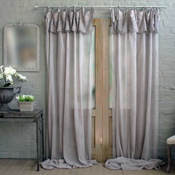 TAUPE' single embroidered voile curtain panel in taupe with cotton ...
