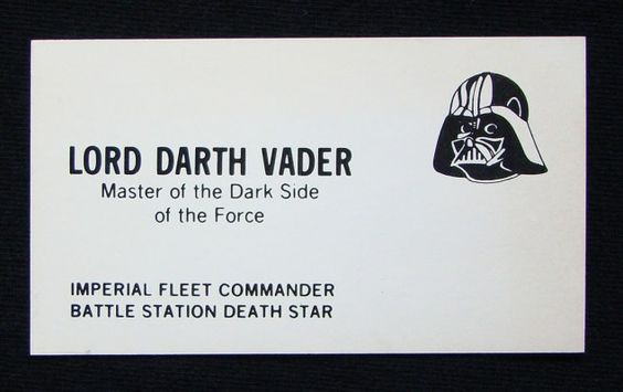 Star Wars Characters' Business Cards: Darth Vader