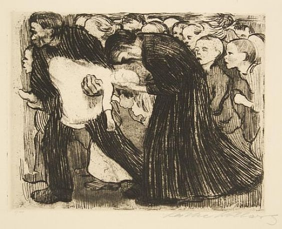 "Käthe Kollwitz, ""Run Over"" (1910).:"
