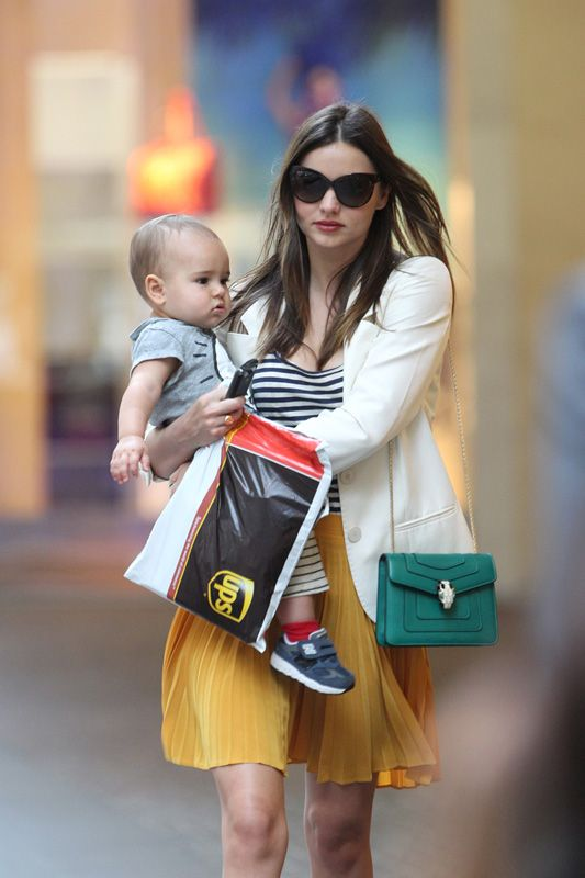 fake prada handbag - Miranda Kerr takes Flynn along for a business meeting in Sydney ...