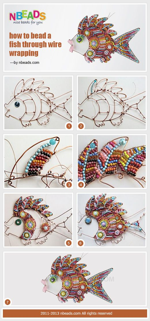 Summary: Let's learn wire wrapping techniques today. The following craft making process pictures show you how to bead fish. Try and add these cute and colorful beaded fishes to your home #decor.#diy: