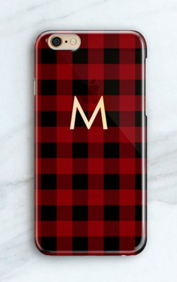 Buffalo Plaid Monogrammed iPhone Case
