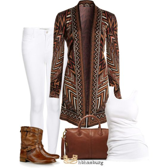 """No. 328 - Brown & white"" by hbhamburg on Polyvore"