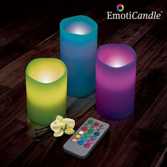 Velas multicolor con mando a distancia. Funcionan independientes o en conjunto. Varios colores además del blanco.