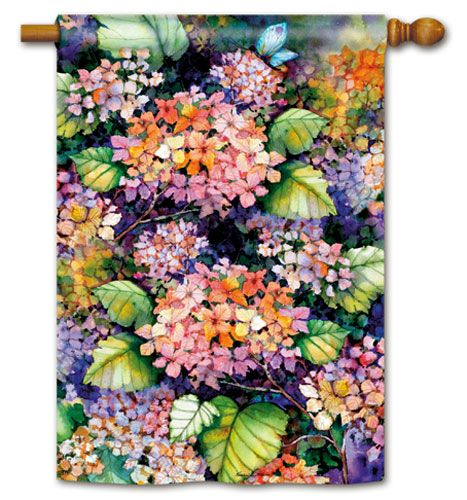 Magnet Works House Flag Fall Hydrangea Decorative Flag at Garden