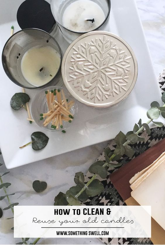How to Clean and Reuse Your Old Candles // Got some stubborn wax that you can't get out of your old candles? Here is the complete guide to how to reuse and repurpose your old candles. #upcycle #somethingswell