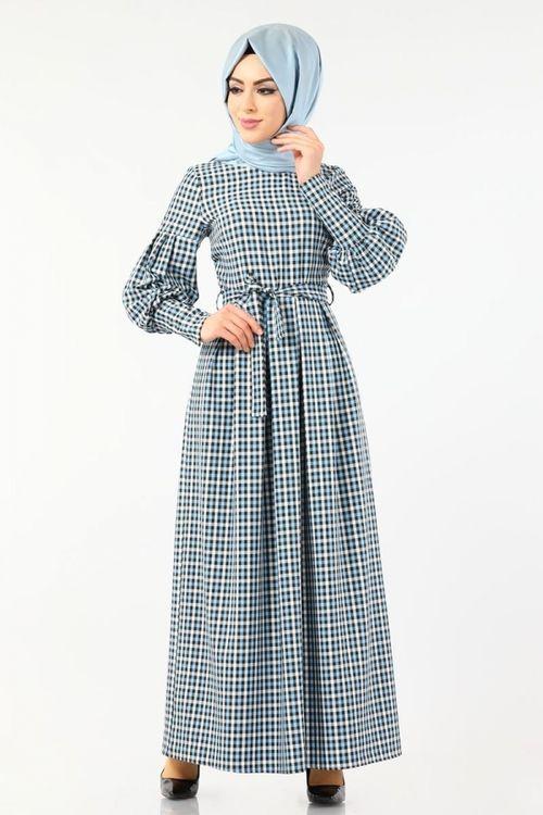 Modaselvim Elbise Balon Kol Ekose Elbise 4005 2mb205 Mavi Giyim Moda Moda Stilleri