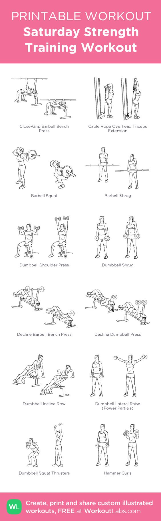 Saturday Strength Training Workout:my custom printable workout by @WorkoutLabs #workoutlabs #customworkout
