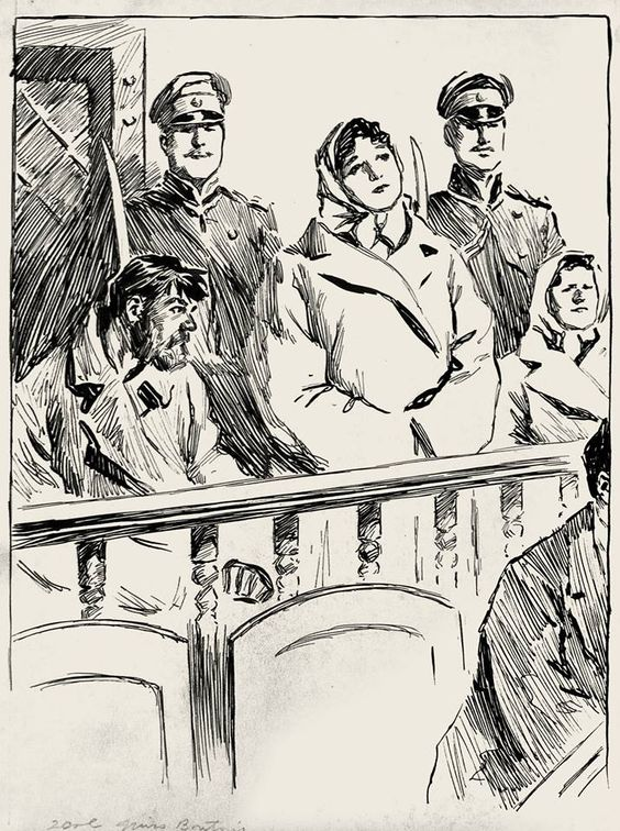 A lovely pen and ink drawing by unidentified artist of a woman in court, circa 1900.