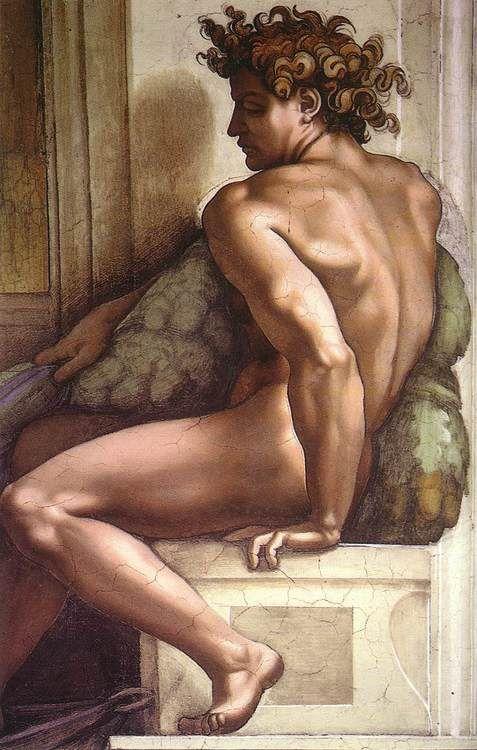 Michelangelo BUENARROTI (1508-1512) Ignudo, fresco (Sistine Chapel, Vatican):
