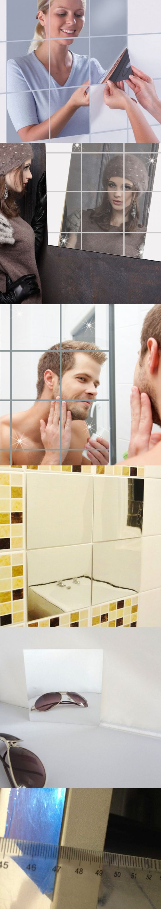 16pcs / set 15cm square movable mirror mirror creative home decoration combination stickers $9.99