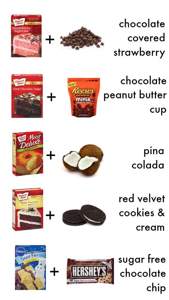 Cake Mix Cookie variations! Base recipe on www.somethingswanky.com