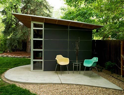 Modern shed sheds and midcentury modern on pinterest for Garden shed music studio