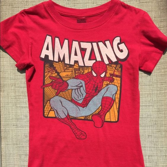 Amazing spiderman marvel graphic tee Fitted tshirt. Size S, could also fit a XS. Marvel Brand. Super cute with skirt or highwaisted shorts. Marvel Tops Tees - Short Sleeve