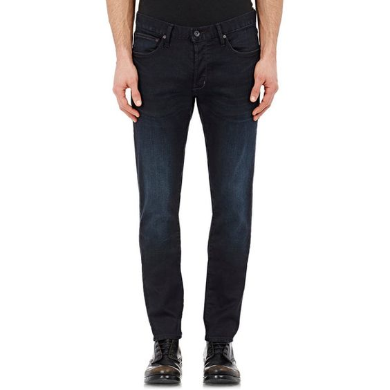 John Varvatos Star U.S.A. Wright Jeans (25005 RSD) ❤ liked on Polyvore featuring men's fashion, men's clothing, men's jeans and blue