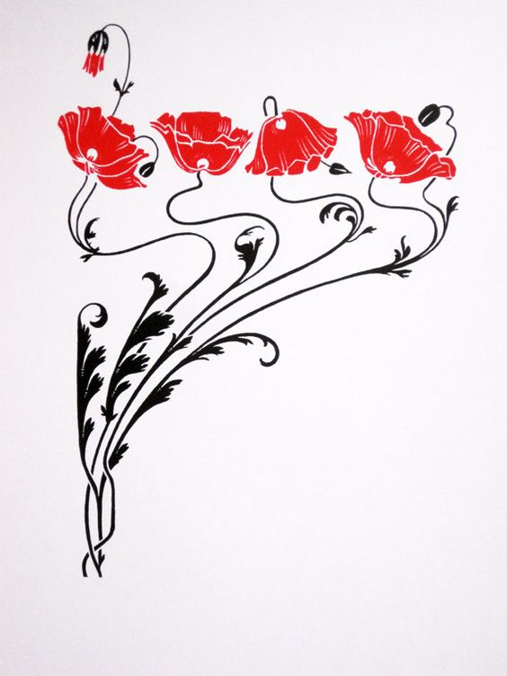 Art Nouveau Red Poppies limited edition screenprint by NigelDK: