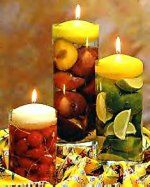 Round Disc Floating Candles in Glass Cylinders with Citrus and Strawberries