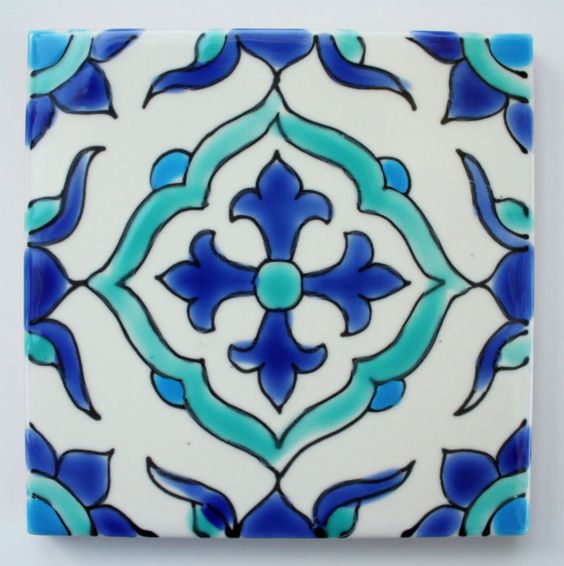 "Tunisian Ceramic Tiles - Carthage - 4 X 4"" in Home & Garden, Home Décor, Tile Art 