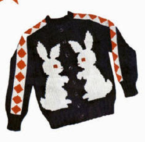 Knit Rabbit Sweater Pattern : Knit o graf pattern bunny rabbits for a cardigan