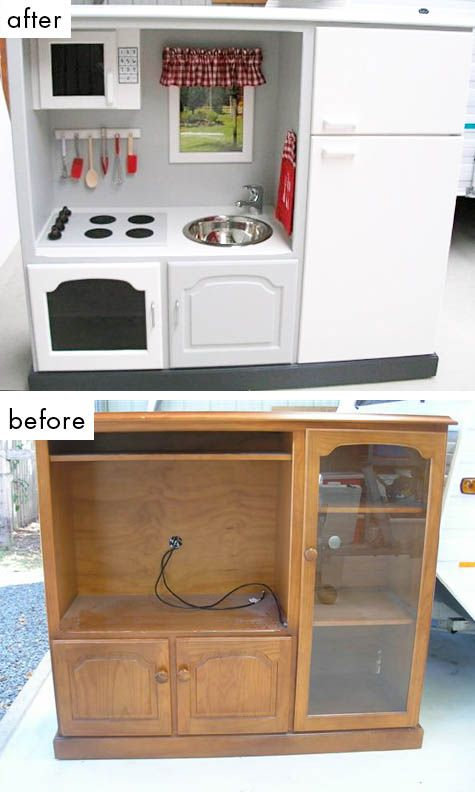 repurpose that old tv stand into a kids kitchen juguetes para nios pinterest repurpose kitchens and plays