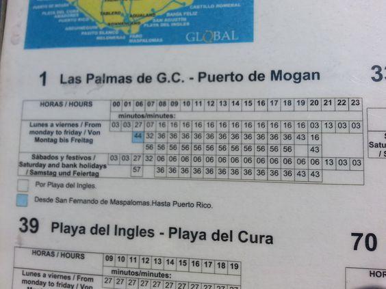 'Busfahrplan am Hotel' aus dem Reiseblog 'Über Weihnachten auf den Kanaren: Urlaub im Dorado Beach auf Gran Canaria'