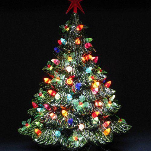 Large Christmas Tree: Winter Holly Lights Large Holiday Ceramic Christmas Tree