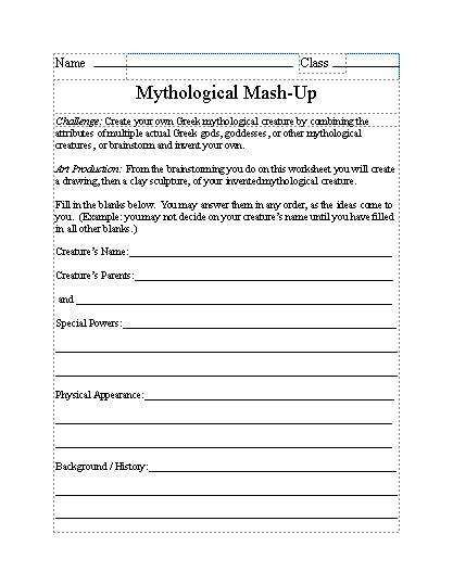 greek worksheet mythological mash up | Ancient Greek Civilizations ...