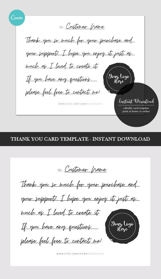 Editable Thank You Card Template Backside With Canva Small Etsy In 2020 Thank You Card Template Card Template Thank You Cards