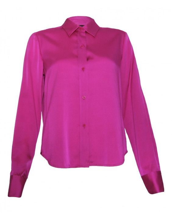 <p>DKNY Fitted Silk Shirt, Pink, UK8</p> <p>Long sleeved with buttoned cuffs</p> <p>Front button fastening</p> <p>Collared</p> <p>Slight stretch to give a comfortable fit</p> <p>93% Silk, 7% Spandex</p> <p>Dry clean</p> <p>Marked size UK8</p>