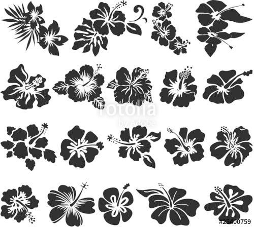 Download The Royalty Free Vector Hibiscus Flower Silhouettes From Printingsoci Download Flower In 2020 Hibiscus Flower Tattoos Flower Silhouette Hawaiian Tattoo