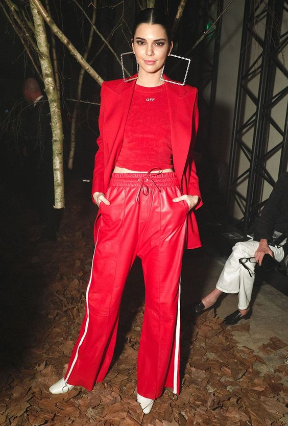 all red outfit + kendall jenner