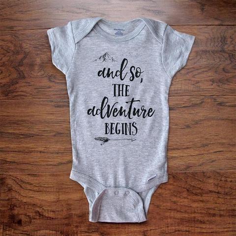 Baby Shower Baby Reveal Newborn Onesie New Adventures Await Custom Pregnancy Announcement Onesie- Baby Gift Custom Bodysuit