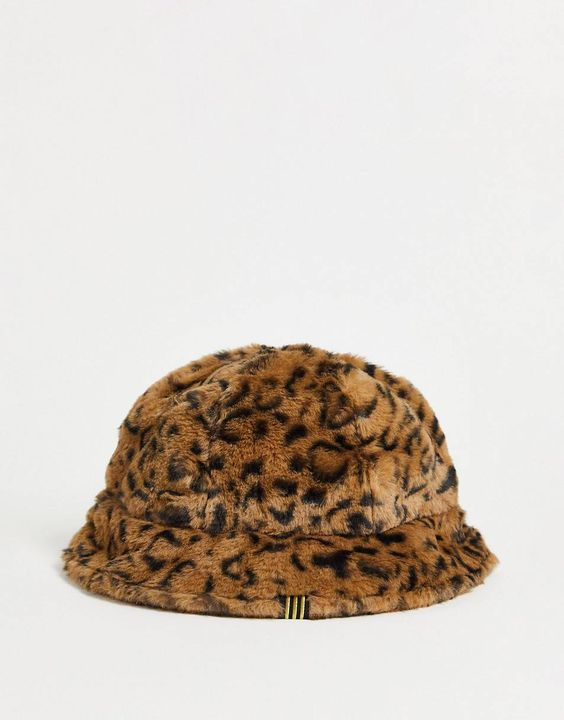 adidas Originals Trefoil fluffy bucket hats in leopard print