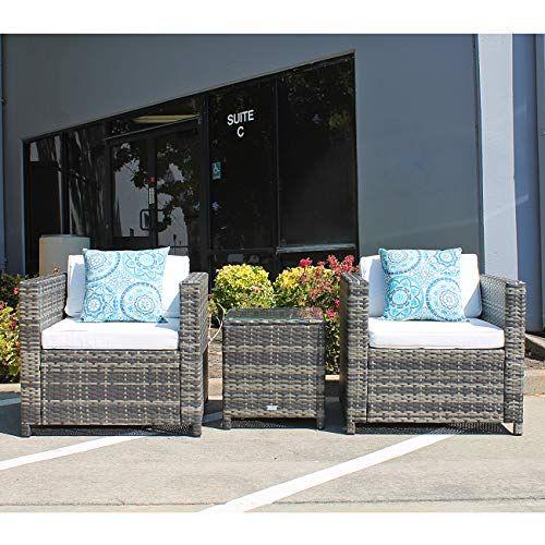 Patiorama Patio Furniture 3 Pieces Pe Rattan Grey Wicker Porch Furniture Chairs White Cus Outdoor Patio Furniture Sets Porch Furniture Outdoor Porch Furniture