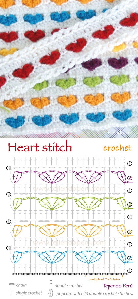 Crochet heart stitch diagram (pattern or chart)!: