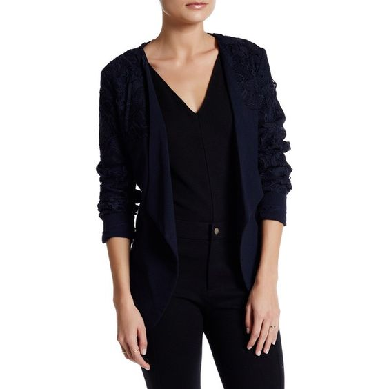 Onetheland Lace Applique Blazer ($40) ❤ liked on Polyvore featuring outerwear, jackets, blazers, navy, long sleeve blazer, blue blazer jacket, blue blazer, navy lace jacket and open front jacket