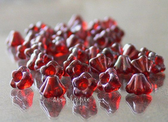 Siam Ruby Vega Czech Glass Beads Baby Bell 6mm 25 by simplypie