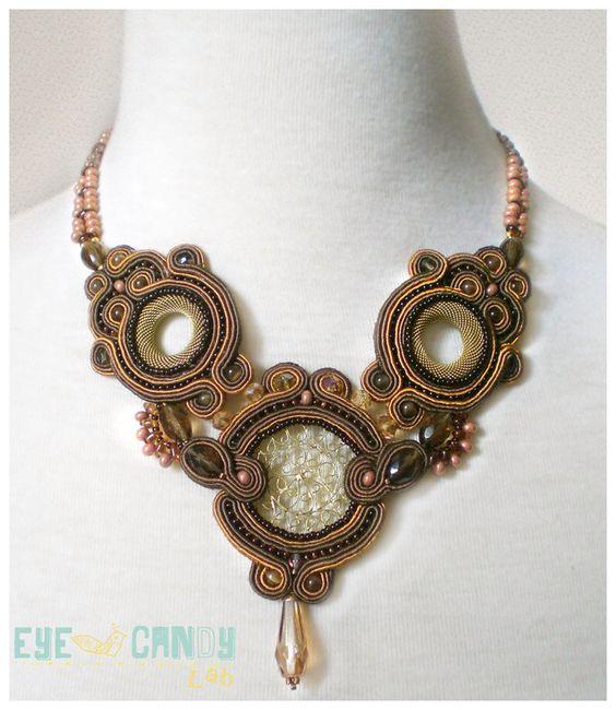 Soutache Bib Necklace -TEODORA- by EyeCandyLab on Etsy https://www.etsy.com/listing/129868099/soutache-bib-necklace-teodora