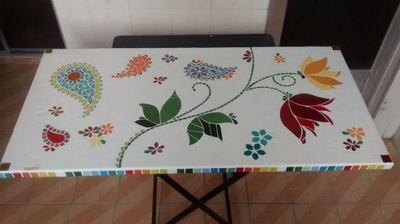Tampo de Mesa em mosaico | LUARTEZ by Luciana Teles | Elo7