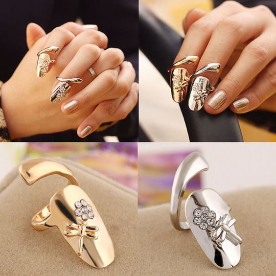 Fashion Womens Dragonfly Flower Design Jewelry Rhinestone Finger Tip Nail Ring #UnbrandedGenenic #FingerTipNailRing