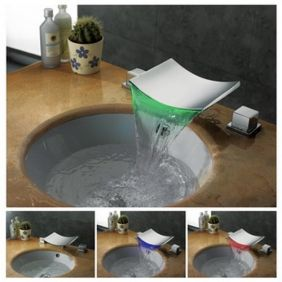 Farbwechsel LED Wasserfall verbreitet Waschbecken Wasserhahn (verchromt)