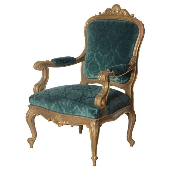 One 19th century italian baroque chair in Peacock blue - Furniture - Seating