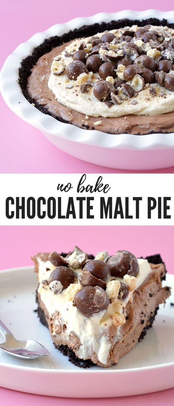 A delicious and easy Chocolate Malt Mousse Pie made from scratch! This no bake pie has an Oreo crust, a chocolate malt filling and is topped with whipped cream and Malteser chocolates. Recipe from sweetestmenu.com #pie #oreos #chocolate #malt #dessert