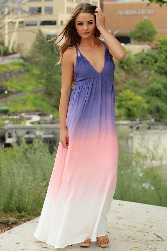 NanaMacs Boutique - Faded Glory Purple Pastel Ombre Maxi Dress ...