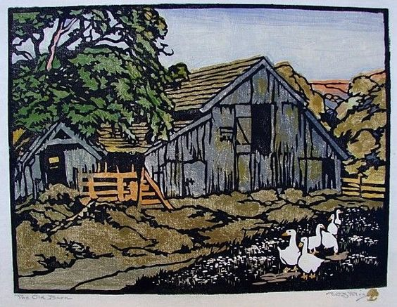 "William Seltzer Rice · The Old Barn · 9"" x 12"" · Color Woodcut Block Print on Japanese Paper"