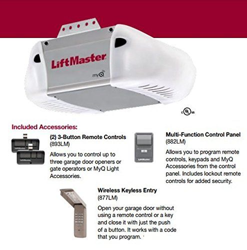 Liftmaster 8365 267 Premium Series 1 2 Hp Ac Chain Drive Garage Door Opener Chain Rails Sold Separately Garage Door Opener Garage Doors Liftmaster